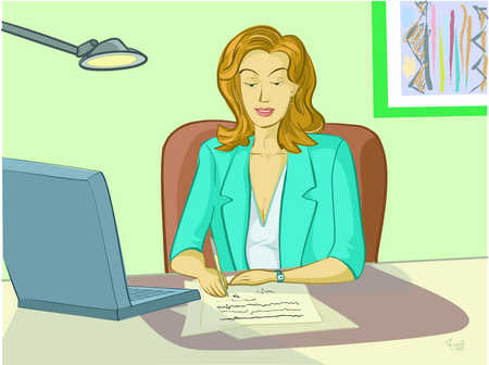 A woman at work in front of her computer
