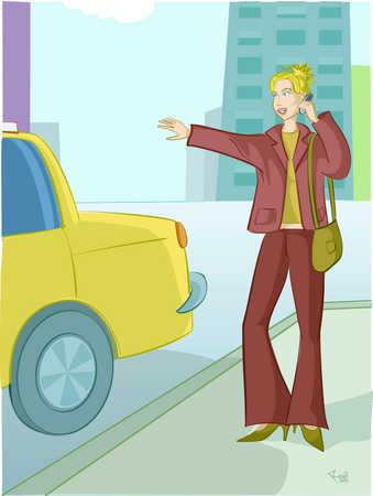 A woman hailing a taxi cab