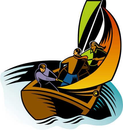 three men on a sail boat