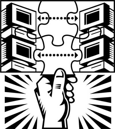 illustration of a hand and computer servers