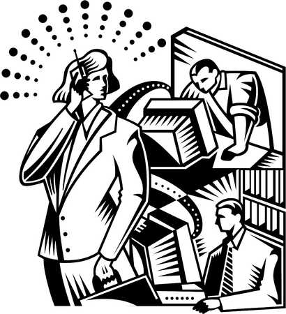 A businesswoman on a cell phone with two men working in the background