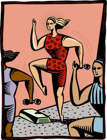 women exercising at an aerobics class