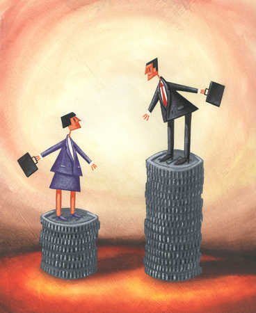 Businesswoman and businessman standing on uneven stacks of money