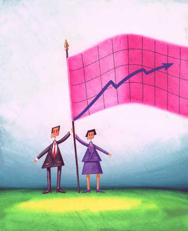 Businesswoman and businessman holding graph on flagpole