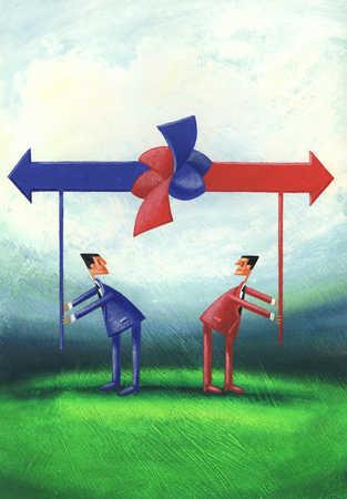 Businessmen pulling arrows in opposite directions