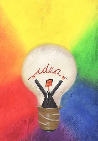 Businessman inside light bulb