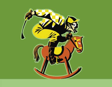 Jockey riding hobby horse