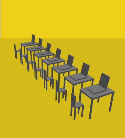 Empty computer desks and chairs
