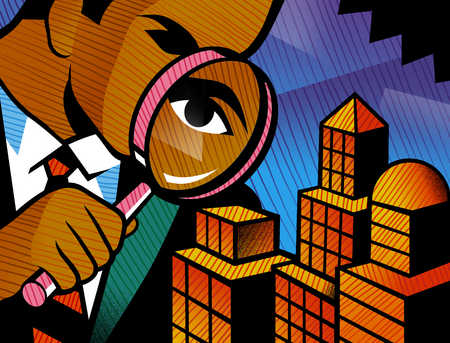 Businessman examining city