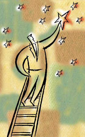 Businessman plucking star from sky