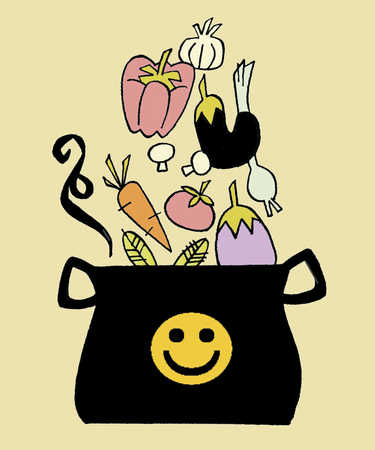 Vegetables falling into pot with smiley face