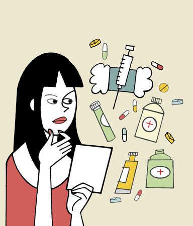 Woman contemplating medication