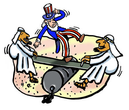 Uncle Sam and Middle Eastern men on see-saw over oil barrel