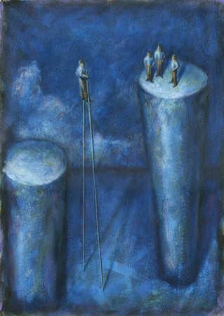 Businessman on stilts next to businessmen on pillar