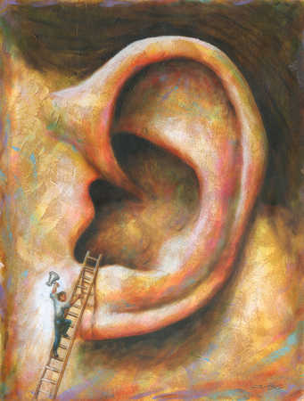 Businessman climbing into giant ear