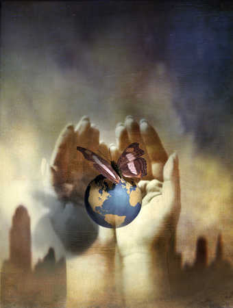 Globe and butterfly in cupped hands