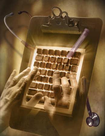 Doctor typing on keyboard clipboard