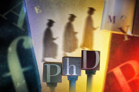 PhD graduates walking up blocks