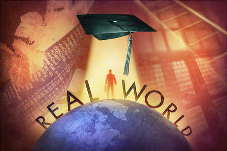Globe, graduation cap and the words Real World