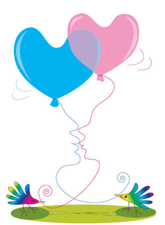 Two birds holding heart shaped balloons