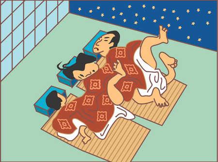 Asian family sleeping