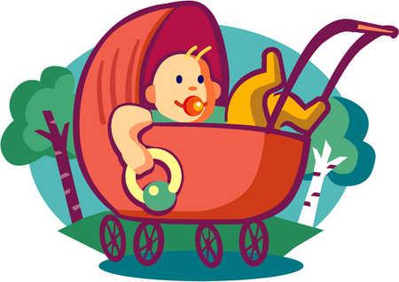 Baby in stroller in park