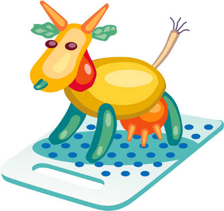 Cow made of vegetables on cutting board