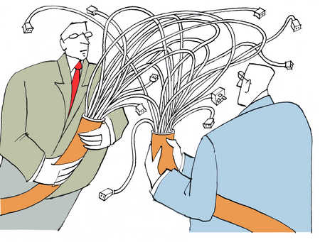Two businessmen holding tangle of wires