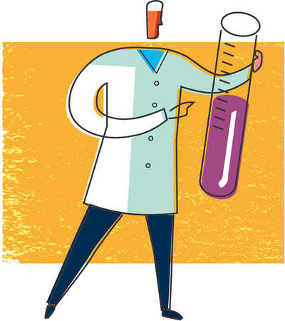 Scientist holding vial of liquid