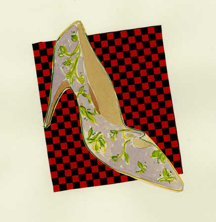 High heeled shoe on checkered background
