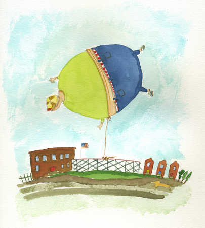 Child floating like balloon tethered to fence