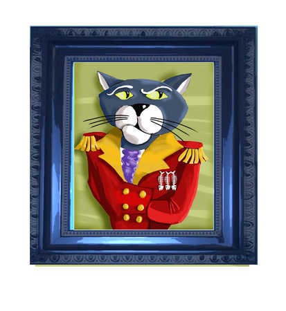 Framed picture of cat dressed as Napoleon