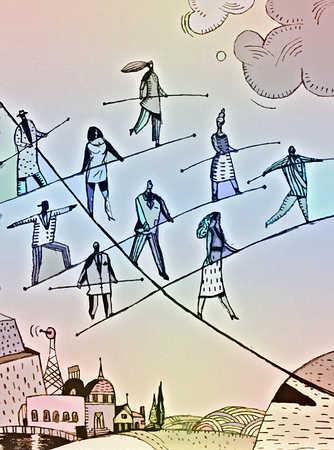 People walking tightropes and balancing