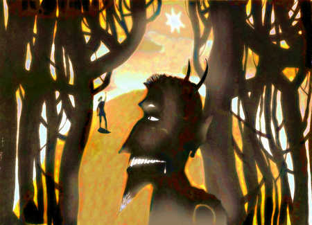 Devil looking at small person in woods