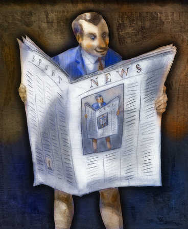 Businessman wearing newspaper