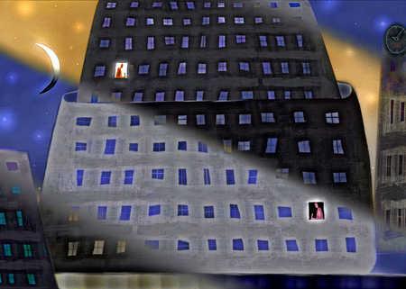 Illuminated windows city building at night