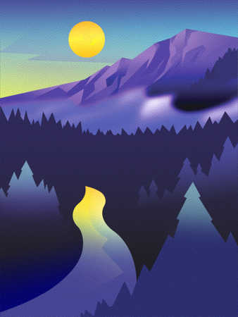 Mountain, river and forest at sunrise