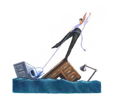 Businessman on sinking desk