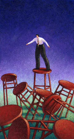 Businessman standing on stool