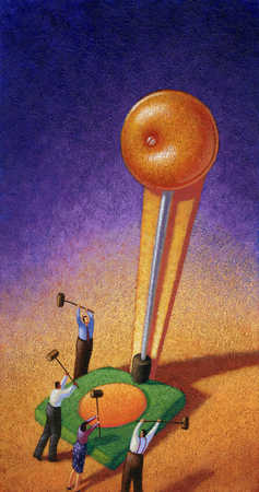 Businesspeople trying to ring bell with mallets