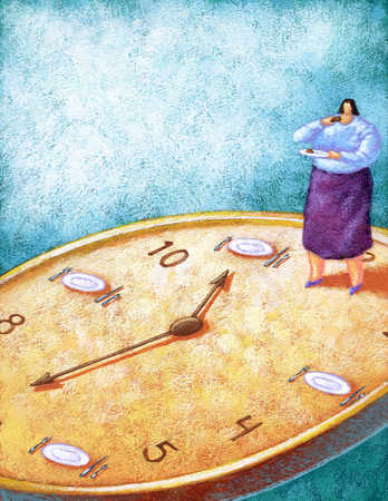 Fat woman standing on clock and eating