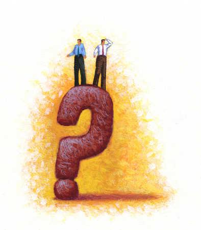 Businessmen standing on question mark