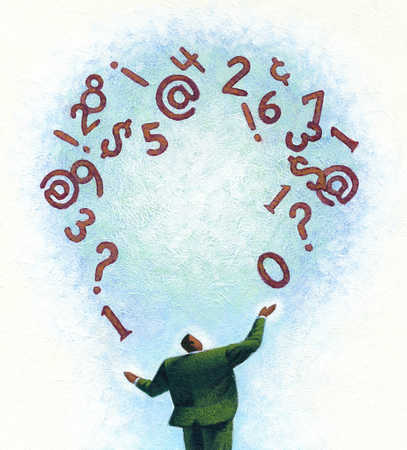 Businessman juggling numbers and symbols