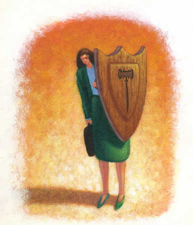 Businesswoman behind shield with gavel