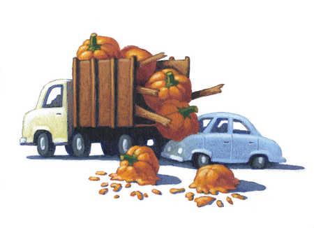 Car crashed into pumpkin truck