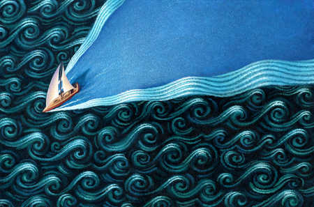 Sailboat cutting through waves