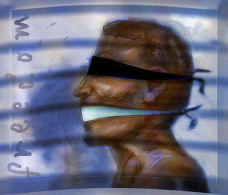 Person with blindfold and gag next to the word Freedom