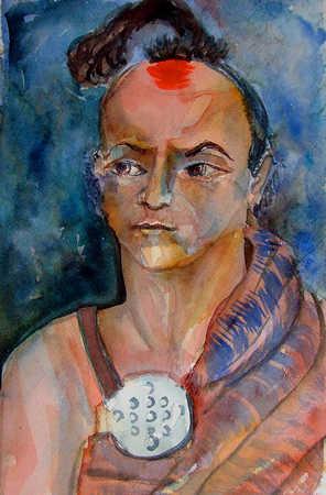 Watercolor of Native American man