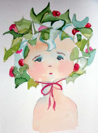 Watercolor of baby wearing bonnet
