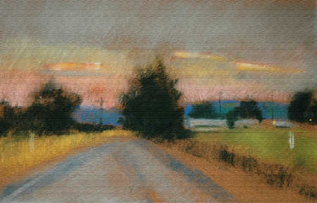Pastel illustration of country road